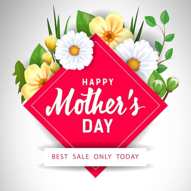 Feliz dia das mães melhor venda apenas hoje lettering com flores. Vetor grátis