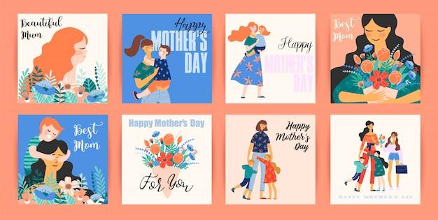 Feliz dia das mães. modelos de vetor com mulheres e crianças. Vetor Premium