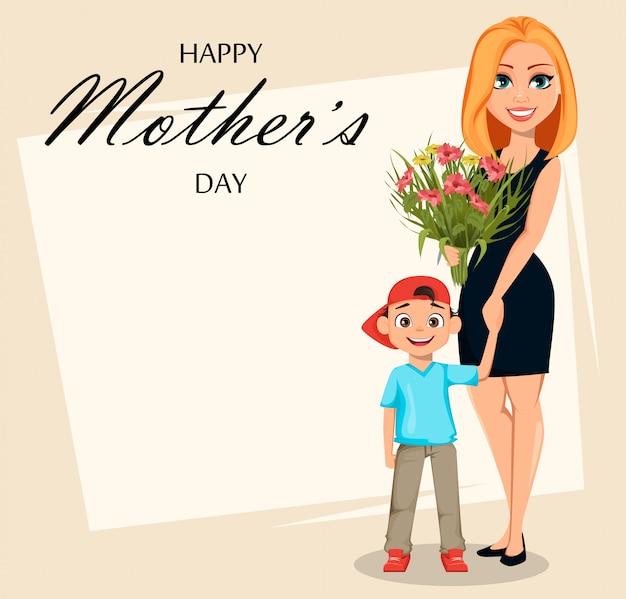 Feliz dia das mães. mulher bonita com um buquê e seu filho Vetor Premium
