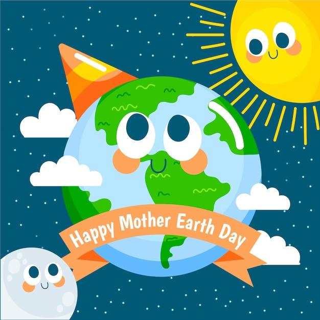 Feliz dia das mães terra com o sol e a lua Vetor grátis