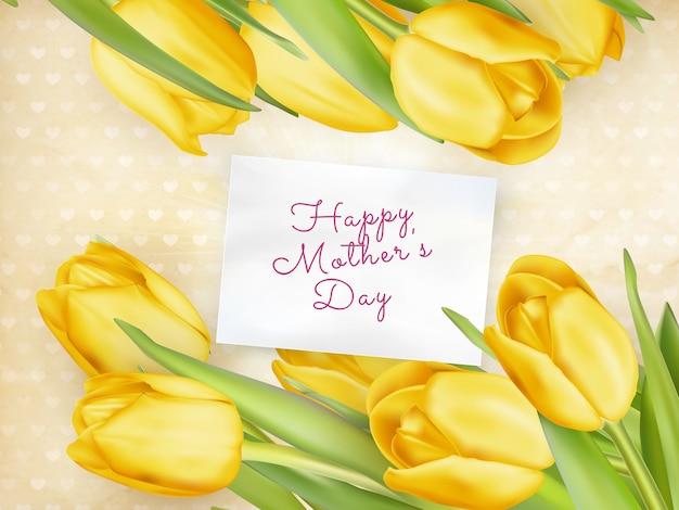 Feliz dia das mães tulipas flor. Vetor Premium