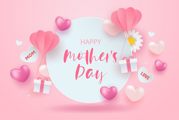 Feliz dia das mães venda banner design com flores realistas, caixas de presente e corações em rosa. Vetor Premium