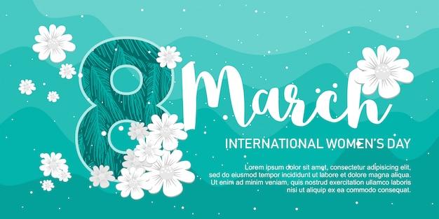 Feliz dia das mulheres banner simples Vetor Premium