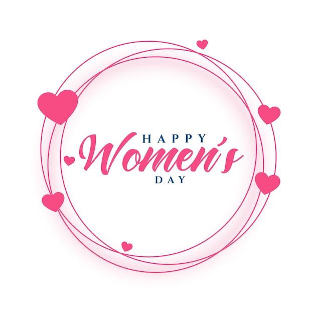 Feliz dia das mulheres design de cartão com moldura de corações Vetor grátis