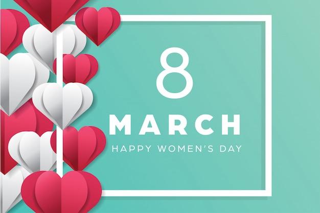Feliz dia das mulheres férias com papel cortado amor formas estilo Vetor Premium