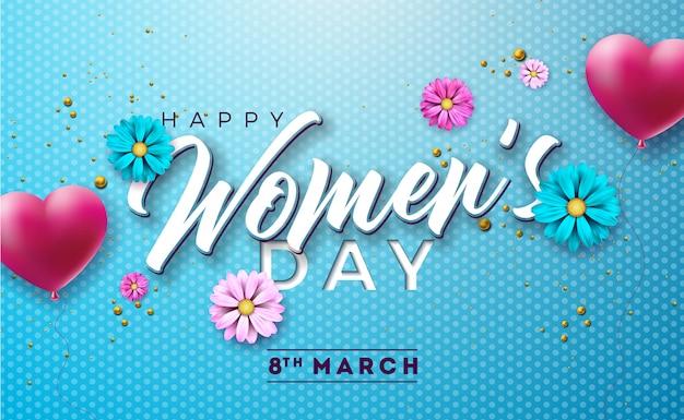 Feliz dia das mulheres floral ilustração com flor Vetor Premium