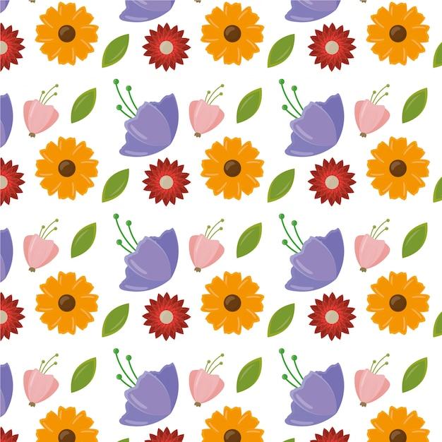 Feliz dia das mulheres padrão com folhas e flores Vetor grátis