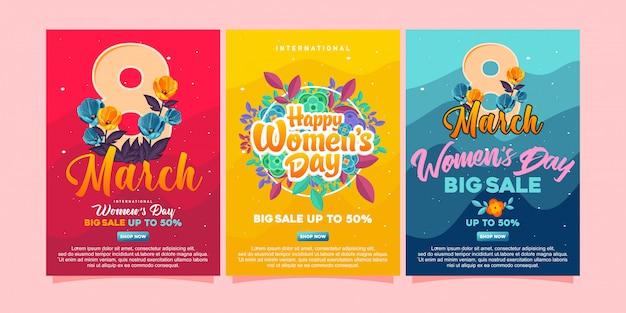 Feliz dia das mulheres posters Vetor Premium