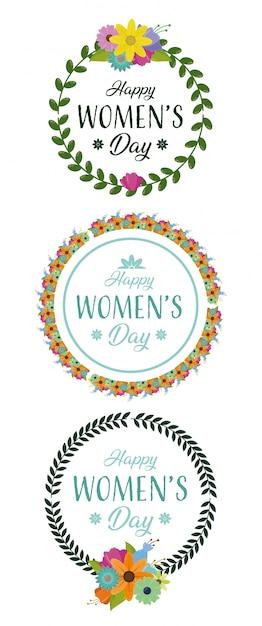 Feliz dia das mulheres rodada coroa de flores com flores Vetor grátis
