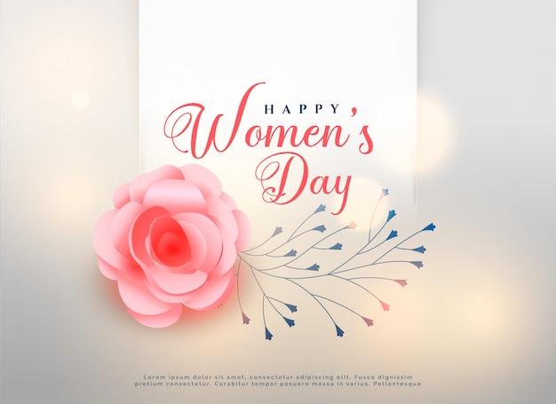Feliz dia das mulheres subiu cartão de fundo de flor Vetor grátis