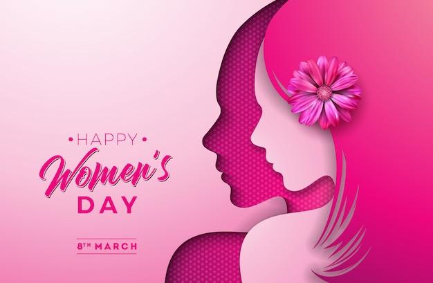 Feliz dia das mulheres Vetor Premium