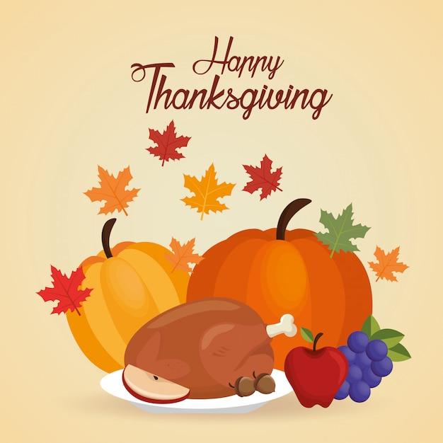 Feliz dia de ação de graças cartão menu e folha de outono Vetor grátis