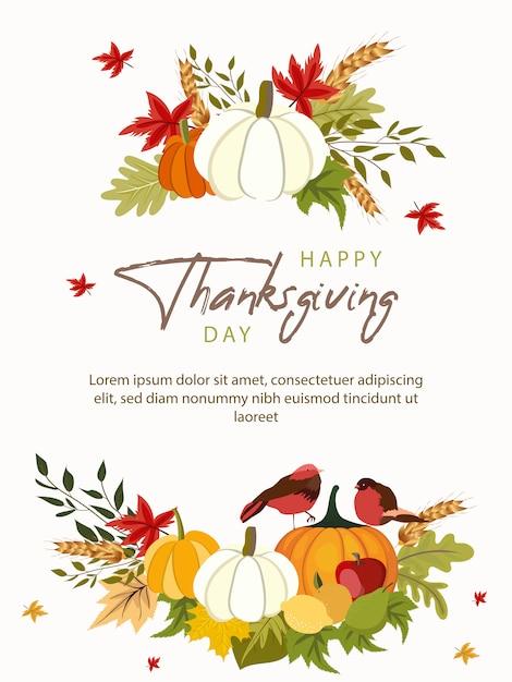 Feliz dia de ação de graças cartão modelo com legumes e folhas coloridas. Vetor Premium