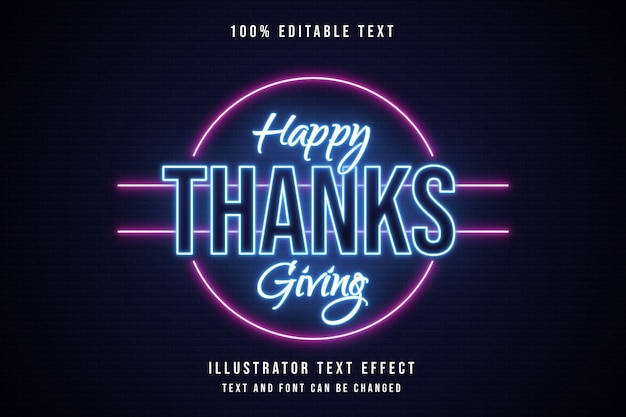 Feliz dia de ação de graças, estilo de texto 3d editável com efeito de texto azul neon rosa Vetor Premium