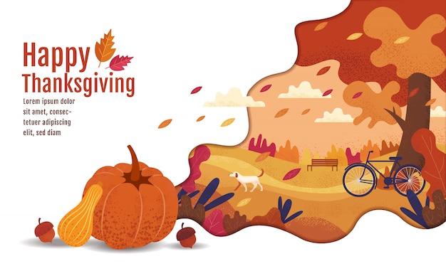 Feliz dia de ação de graças, outono., desenho, desenho animado, estilo de pintura de paisagem. Vetor Premium