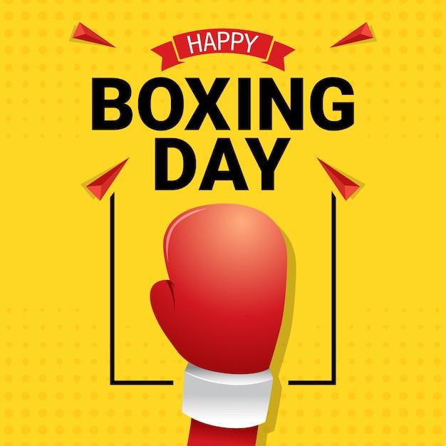 Feliz dia de boxe celebração cartão Vetor Premium