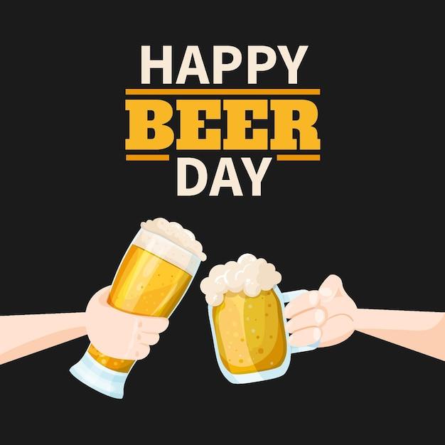 Feliz dia de cerveja brindando com canecas Vetor grátis