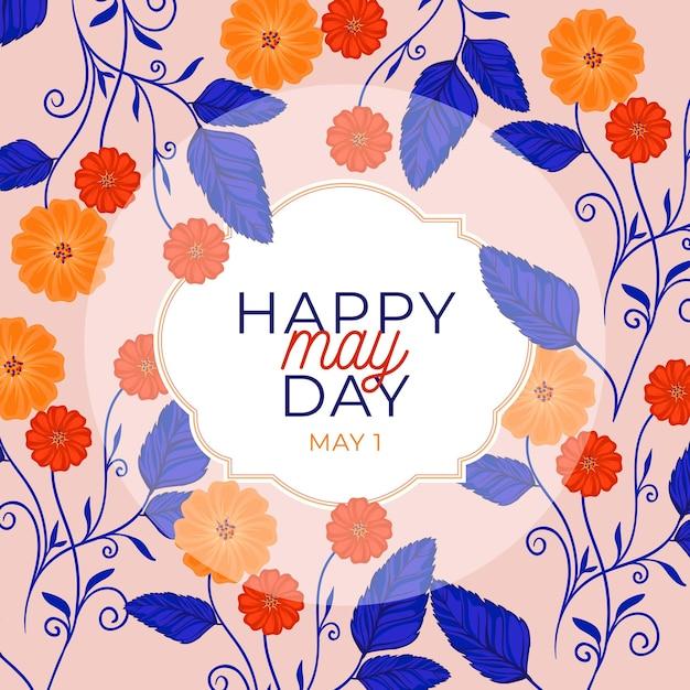 Feliz dia de maio fundo com flores e folhas Vetor grátis