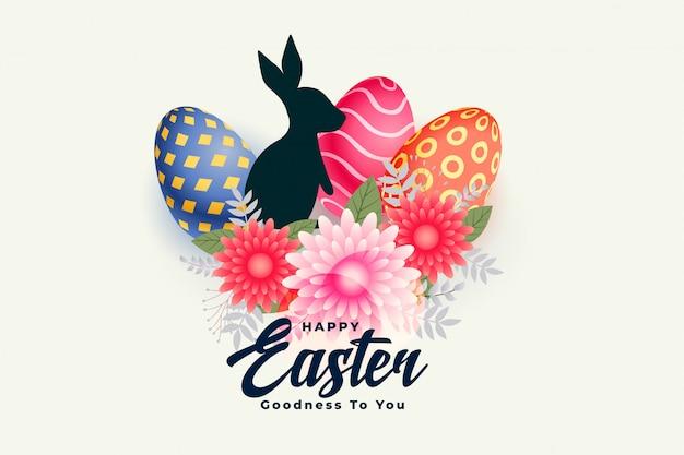 Feliz dia de páscoa cartão com flor coelho e ovos Vetor grátis