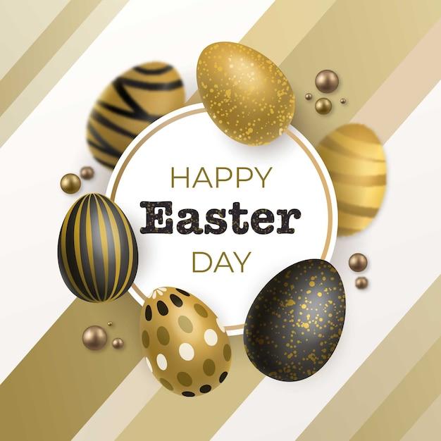 Feliz dia de páscoa dourado Vetor grátis