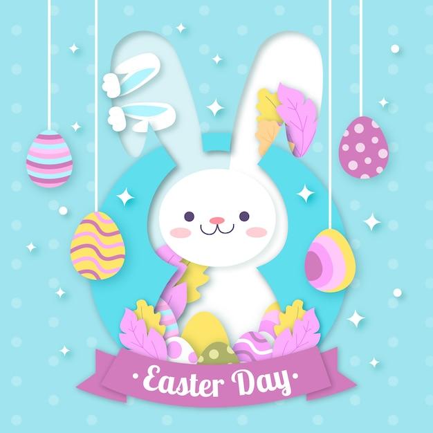Feliz dia de páscoa em estilo de jornal Vetor grátis