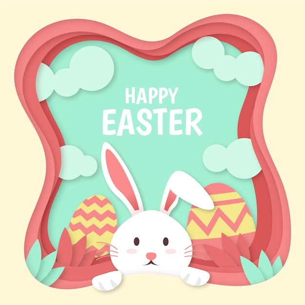Feliz dia de páscoa em estilo de papel com coelho e ovos pintados Vetor grátis
