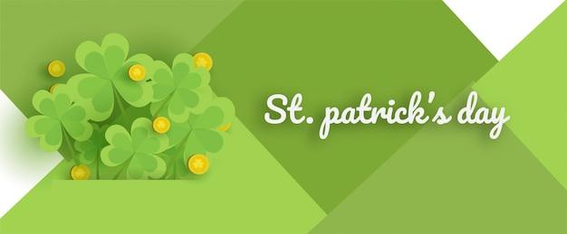 Feliz dia de são patrício com verde e ouro quatro e folha de árvore em papel cortado estilo. Vetor Premium