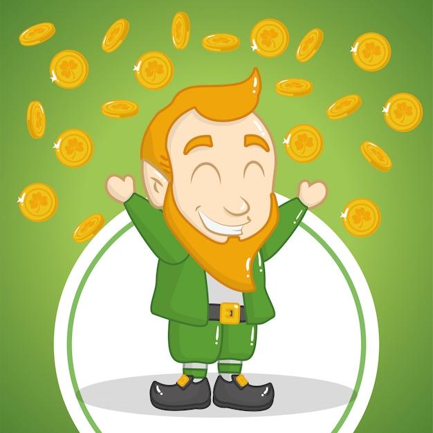 Feliz dia de são patrício, duende com moedas Vetor grátis