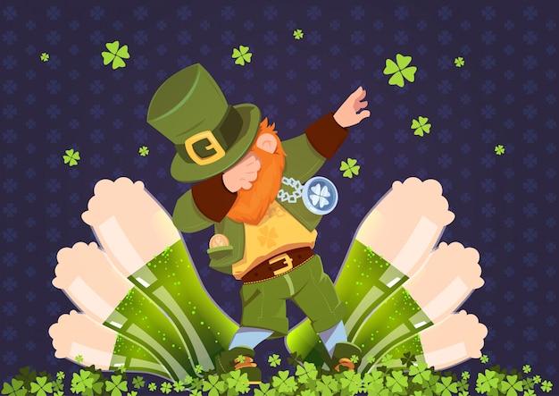 Feliz dia de st. patricks feriado festival irlandês com duende verde sobre copos de cerveja Vetor Premium