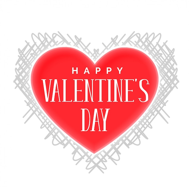 Feliz dia de vanetines coração com padrão de rabisco Vetor grátis