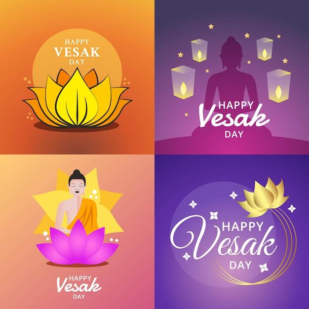 Feliz dia de vesak ilustração Vetor Premium