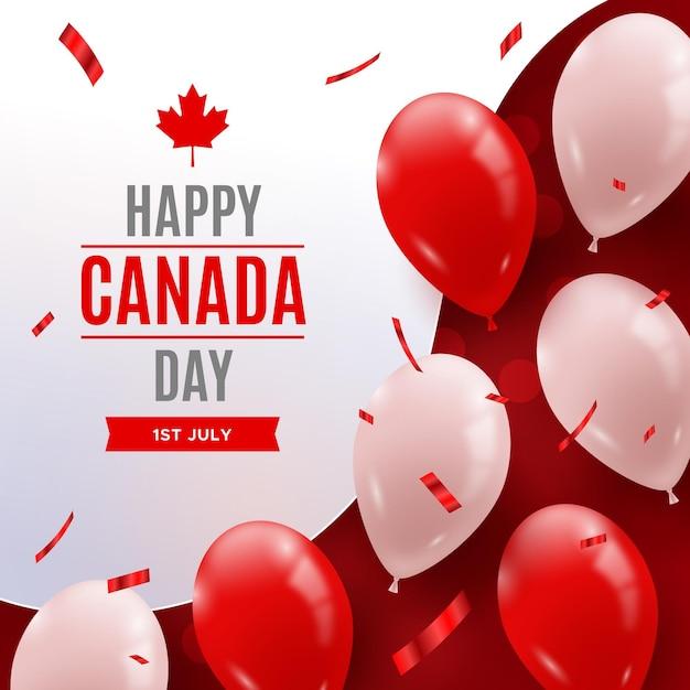 Feliz dia do canadá com balões realistas e confetes Vetor Premium