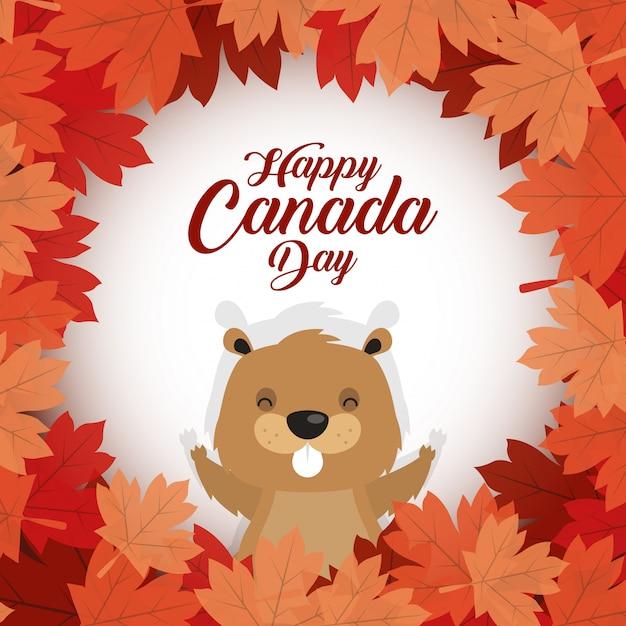 Feliz dia do canadá com castor bonito Vetor Premium
