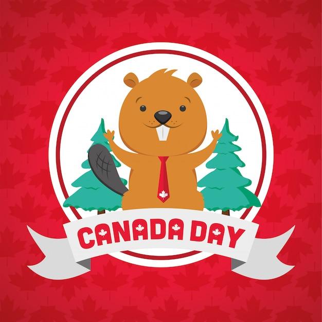 Feliz dia do canadá conceito Vetor grátis