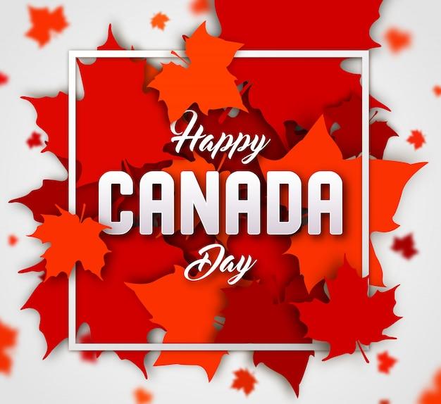 Feliz dia do canadá. folhas de bordo vermelho Vetor Premium