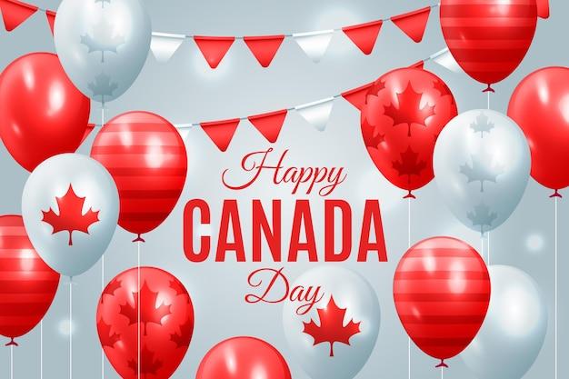 Feliz dia do canadá fundo realista com balões Vetor grátis