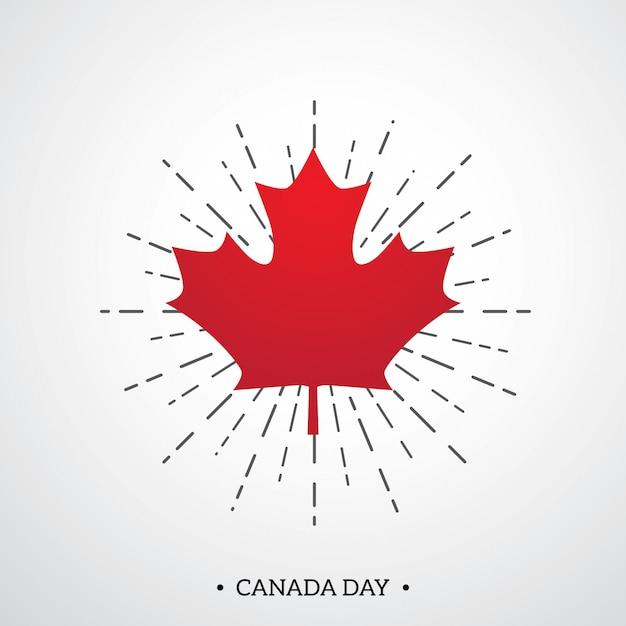 Feliz dia do canadá modelo de cartaz com folha de bordo vermelho Vetor Premium