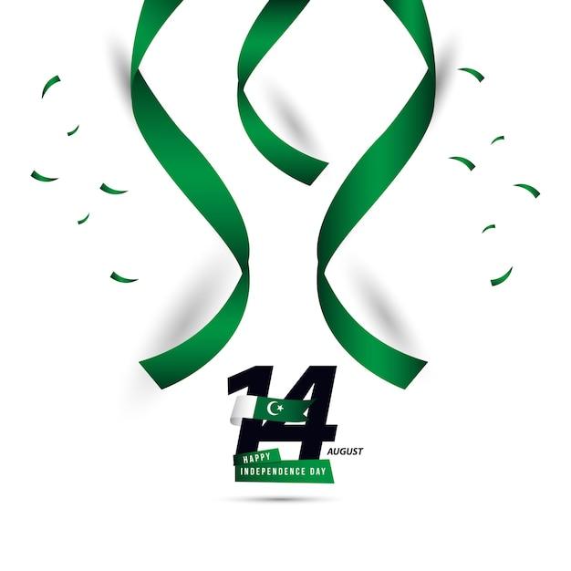 Feliz dia do paquistão independente vector design de modelo Vetor Premium
