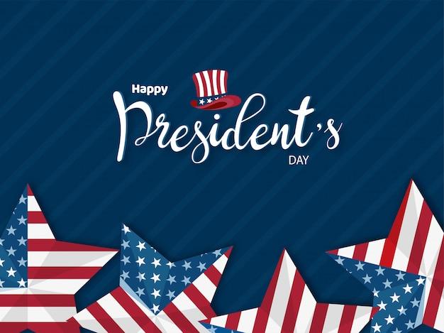 Feliz dia do presidente banner ou design de cartaz Vetor Premium