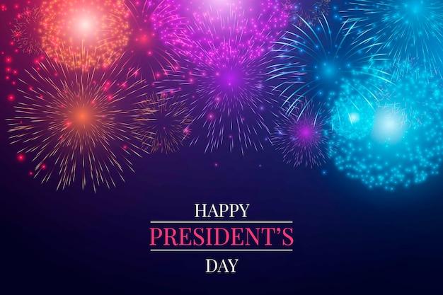 Feliz dia do presidente com fogos de artifício Vetor grátis
