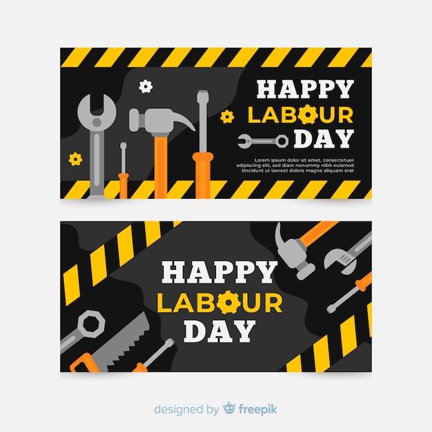 Feliz dia do trabalho bandeira plana para web e mídias sociais Vetor grátis