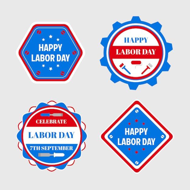 Feliz dia do trabalho emblemas e etiquetas de design, promoção de venda. Vetor Premium
