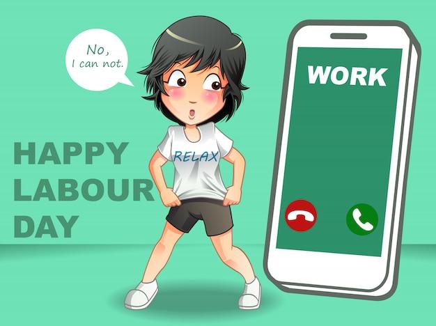 Feliz dia do trabalho Vetor Premium