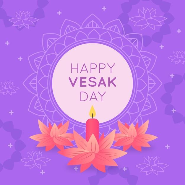 Feliz dia do vesak indiano e flores cor de rosa Vetor grátis