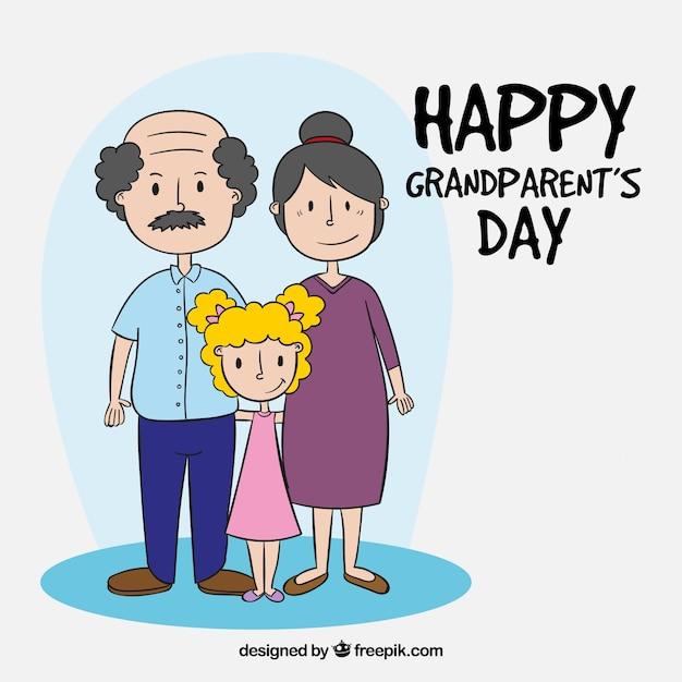 Feliz dia dos avós com filha Vetor grátis