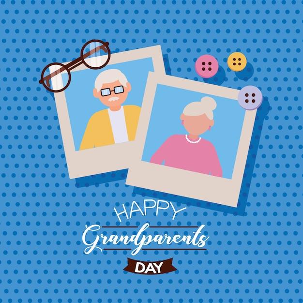 Feliz dia dos avós design plano Vetor grátis