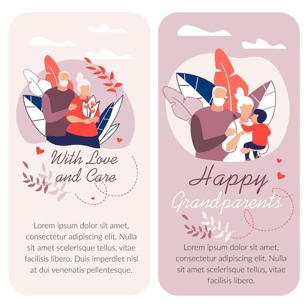 Feliz dia dos avós, ilustração dos desenhos animados com o modelo de texto Vetor Premium