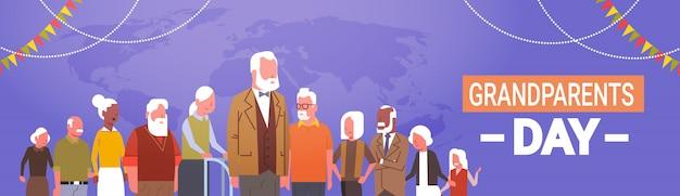 Feliz dia dos avós saudação cartão banner mix corrida grupo de pessoas sênior celebração Vetor Premium