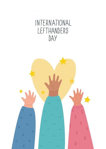 Feliz dia dos canhotos. 13 de agosto, cartão do dia internacional dos canhotos. apoie seu amigo canhoto. mãos esquerdas levantadas juntas. ilustração, estilo de linha Vetor Premium