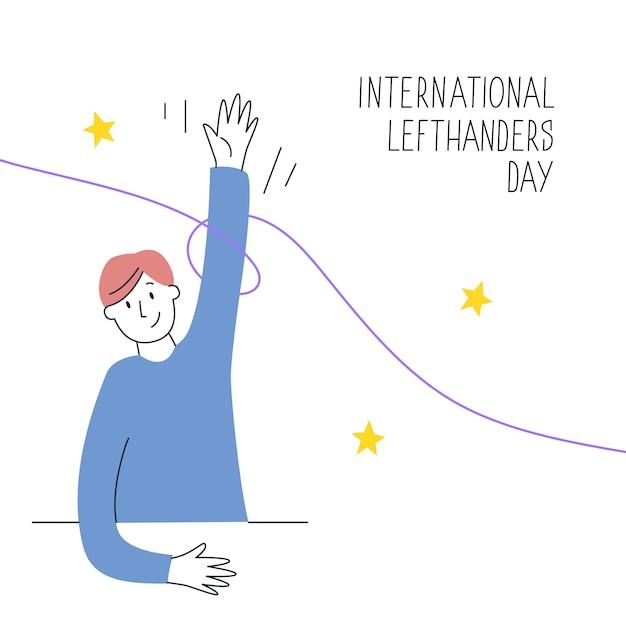 Feliz dia dos canhotos. 13 de agosto, comemoração do dia internacional dos canhotos. a mão esquerda segura uma caneta e escreve. ilustração para recursos para canhotos, como sites, lojas etc. Vetor Premium